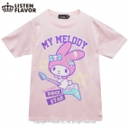 【グッズ-Tシャツ】サンリオ×LISTEN FLAVOR マイメロディのロックスターTシャツ BABYPINK-M
