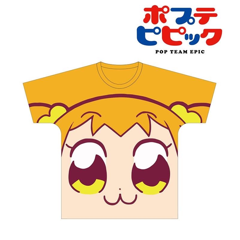 【グッズ-Tシャツ】ポプテピピック フルグラフィックフェイスTシャツ(ポプ子) ユニセックス L