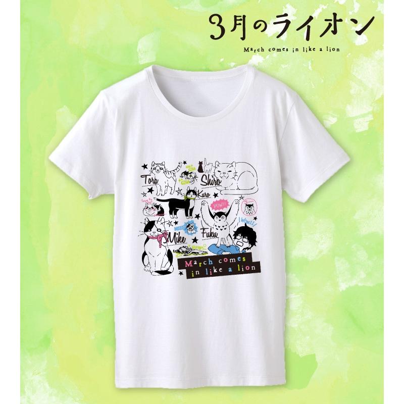 3月のライオン ラインアートTシャツ レディース/サイズL