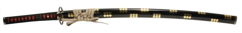 900【コスプレ-武器】【匠刀房】NEU-018RBK-f:廉価版模造刀剣 戦国シリーズ・真田六文銭(黒拵) 大刀/収納袋付き