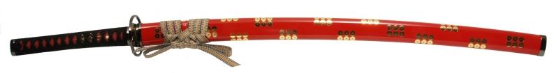 900【コスプレ-武器】【匠刀房】NEU-018RRD-alf:廉価版模造刀剣 戦国シリーズ・真田六文銭(赤拵) 大刀/アルミ刀身タイプ・収納袋付き
