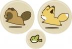 【グッズ-バッチ】タヌキとキツネ 缶バッジセット(かけっこ)