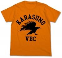 900【グッズ-Tシャツ】ハイキュー!! 烏野高校排球部 Tシャツ ORANGE-L